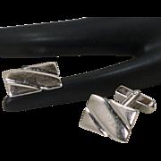 Swank Sterling Silver Rectangle Simple Cufflinks Cuff Links