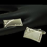 Sterling Silver Foster Rectangular Cufflinks Cuff Links