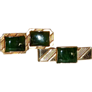 Green Jade Gold Tone Cufflinks Cuff Links and Tie Clip Bar
