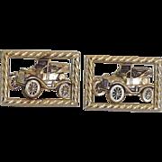 Anson Gold Tone Car Cuff Links Cufflinks