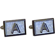 "Swank Silver Tone and Black "" A"" Initial Cufflinks Cuff Links"