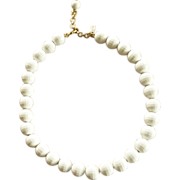 White Beaded Monet Necklace on Gold Tone Chain