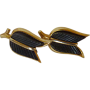 Black Lucite Crown Trifari Signature Clip on Earrings