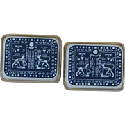 Blue / White Egyptian Revival Cufflinks Cuff Links