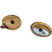 Brushed Gold Tone Oval Cufflinks Cuff Links