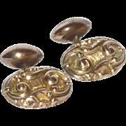 Rolled Gold Tone Concentric Design Cufflinks Cuff Links