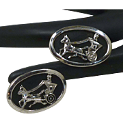 Horse, Carriage and Rider Oval Black and Silver Cufflinks