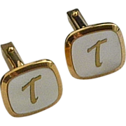 Gold Tone Initial T on Mother of Pearl Cufflinks Cuff Links