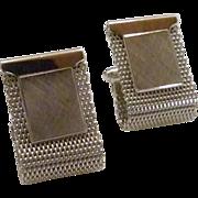 Anson Plain Brush Rectangular Sterling Silver Wrap Around Cuff Links Cufflinks