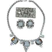 Diamond Rhinestones with White Clear Glass Necklace Set