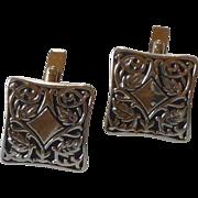 Beautiful Celtic Pattern Silver Tone Swank Cufflinks Cuff Links