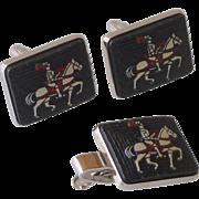 White Horse and Knight Silver Tone Cufflinks & Tie Clip