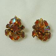 West Germany  1950's Amber Art Glass Clip On Earrings
