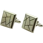 Swank Square Mother of Pearl Silver Tone Cufflinks Cuff Links