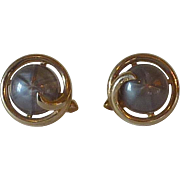 Swank 1960's Grey Dome Gold Tone Cuff Links