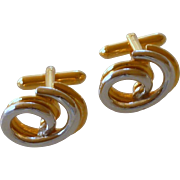 Swank Silver and Gold Tone Curly Cuff Links