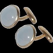 White Moon Glow Gold Tone Cuff Links Cufflinks