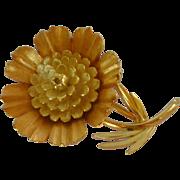 Brushed Gold Tone Crown Trifari Flower Pin Brooch