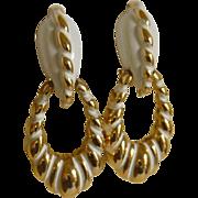 Vendome White and Gold Tone Screw Loop Earrings