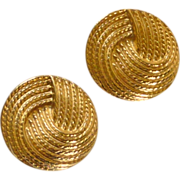 SALE Round Gold Tone Napier Screw Type Earrings