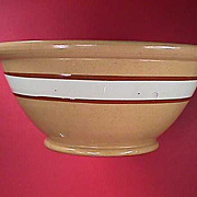 SALE c1860 Large Yellowware Bowl with White Slip & Brown Mocha Bands