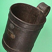 SALE Tinned iron quart Tankard  with King George V Seal (capacity code dated 1920)