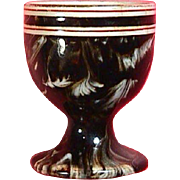 SALE c1860 Creamware Feathered Slipware Egg Cup with brown Mocha Glaze by James MacIntyre (mar