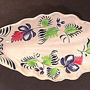 SALE c1845 Gaudy Ironstone Leaf or Relish Dish (hand painted in broad brush style)