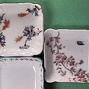 SOLD Three Antique Haviland Limoges Porcelain Butter Pats c1868, c1888, and c1889