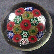 SALE Concentric Millefiori Glass Paperweight with concave ground pontil (20th C but precise ag