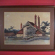 SALE c1900 Watercolor English Country Scenic Old Farm House, signed Ruby Hucker (artist)