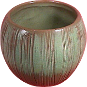 SALE PENDING c1962 Green Coconut Vase or Flower Pot with Brushed Incising by Frankoma