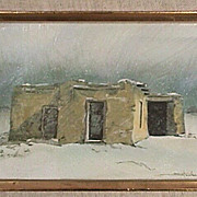 SALE American Southwest Adobe House in Winter Snow Squall  c1996