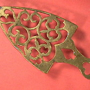 SALE Mid-1800s Cast and Hand Finished Brass Trivet with playing card symbols