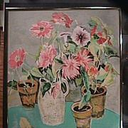 SALE Still Life Potted Flowers (signed print; #132/260) in Matisse-style