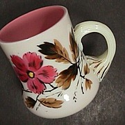 SOLD c1875 English Enameled Glass Cup blown from cased Peach & Milk glass