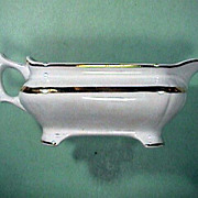 SALE c1876-1890 White Ironstone Gravy Pitcher with Luster Band by Vodrey & Brother