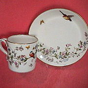 SALE 1881-90 Haviland GDM Porcelain Cup and Saucer with Birds, Butterflies, Flowers and burnis