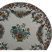SALE c1740 Rouen Faience polychrome plate with garlands and lambrequin border (very scarce)