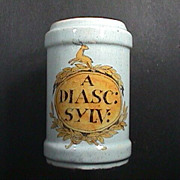 SALE 18th C Dutch Polychrome Delft Tin Glazed Apothecary Jar 'A DIASC: SYLV:'