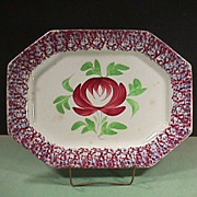 SALE c1840  Red and Light Blue Spatterware 15+ inch Platter with large Adams Rose