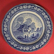 SALE c1825 Blue printed English pearlware plate with rural cottage scene