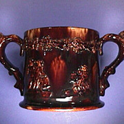 SOLD c1845 Large Rockingham-type Treacle glazed Loving Cup with two frogs & sprigging