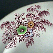 SALE c1840 Cranberry Red Willow Feather and Flowers Stone China Plate by Wm Ridgway