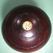 SOLD Late 1800s Lignum Vitae Wood Lawn Bowling Ball from Gourock, Scotland