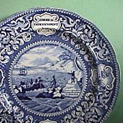 SOLD c1825 Historical Blue Plate celebrating American Independence, Pilgrims, Washington, Boxe