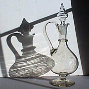SALE c1845 Copper Wheel Engraved  Hand Blown Glass Ewer or handled Decanter with rough snapped