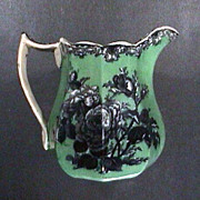 SALE c1845 octagonal Ironstone Pitcher with Mulberry printed roses and underglaze green ground
