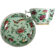 SALE c1850 gilded Chinese Celadon porcelain teacup and saucer with butterflies, birds, fruit,