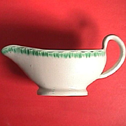 SALE c1805 Green Shelledge Pearlware sauce boat or cream pitcher by Davenport (aka Featheredge